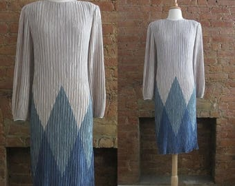 ON SALE 1980s Pierre Labiche fortuny pleated dress | 80's High Fashion Glamour | M to L