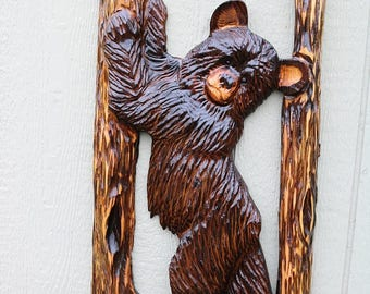 Ends Thursday New Chainsaw Carved bear against a tree 30 to 32 inches tall cedar wood stump burned art hand carved wooden sculpture hand