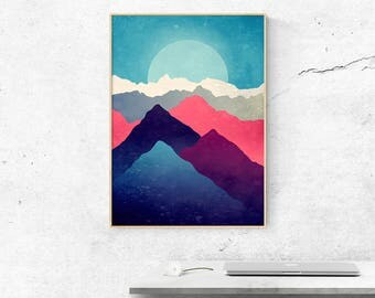 Mountain print - Landscape art print - Home decor - Office decor - Nature print - Art print - Mountains poster- Large size print - giclee