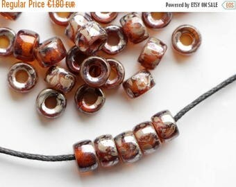 ON SALE -15% 6x4mm Amber Topaz Gold Picasso Lustered Antique Pony beads (30pcs) 2mm large hole Roller beads Czech Glass Beads round big spac