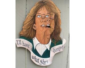 I'll Have What She's Having Meg Ryan Harry Met Sally wood sculpture