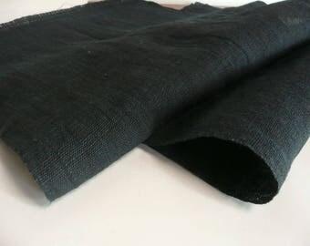 "Japanese antique fabric - hand woven indigo dyed hemp fabric - 13"" x 35 3/4"" (34 x 91 cm) x 2 pieces - WhatsForPudding #2333"