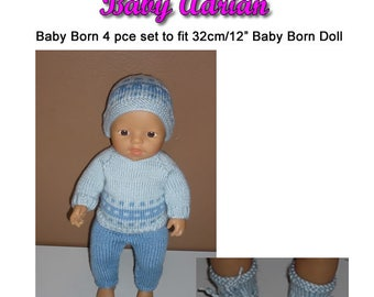 Baby Born Knitting Pattern (BABY ADRIAN) fits 12 inch (32cm) dolls (pattern only)