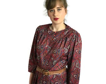 Red paisley retro dress // boho 80s vintage dress // red and blue paisley // 1980s retro dress // UK 14 US 10