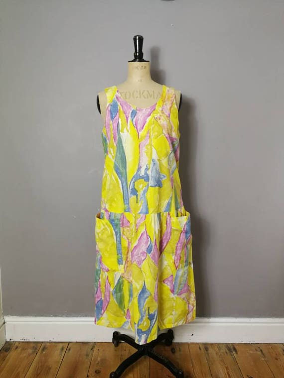 90s yellow loose sun dress / loose fit yellow floral dress / dropped waist dress / dress with pockets / 90s grunge / yellow holiday dress