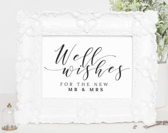 Well Wishes for Mr and Mrs Sign Printable, Leave Your Wishes, Wedding Signs Printable Wedding Signs, Well Wishes Wedding, WP007_4