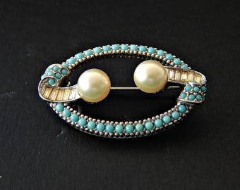 Ciner Brooch Turquoise Pearls and Baguette Rhinestones Signed