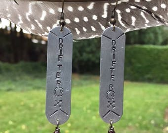 Brass, Feather, Garnet and Chain, Arrow Charm Asymetrical DRIFTER Earrings