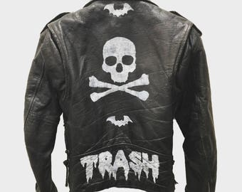 Trash leather jacket by Chad Cherry
