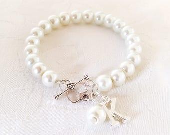 Bridesmaid Bracelet, Personalised Bracelet, Initial Bracelet, Initial Jewellery, Pearl Bracelet, Pearl Jewelry, Wedding