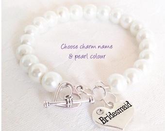 Pearl Bracelet, Bridesmaid Bracelet, Pearl Jewelry, Ivory Pearl Bracelet, Bridesmaid Gift, Weddings