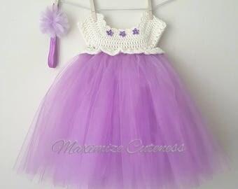 READY TO SHIP Crochet Tutu Dress, Baby Girl Dress, Crochet Tulle Dress, First Birthday Dress, Ivory and Purple Dress, Photography Prop