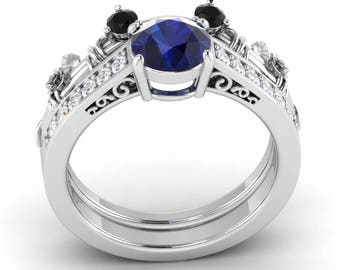 Natural AAA Blue Sapphire Engagement Ring With Black SI Diamond In 14K Gold