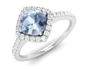AAA Aquamarine Engagement Ring With Diamond, 14K White Gold Ring, Halo Ring, Anniversary Ring, Unique Wedding Ring, Natural Aquamarine Ring,