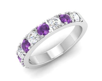 AAA Amethyst Wedding Ring, 14K White Gold, Gold Eternity Ring, Unique Engagement Ring, Anniversary Ring, Amethyst With Diamond Wedding Ring