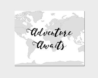World map wall art, Adventure awaits sign, Adventure awaits print, map printable