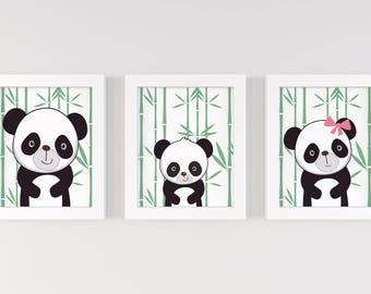 Panda Nursery Decor, Panda Nursery Art, Panda Nursery Prints, Panda Nursery, Set of 3 8x10