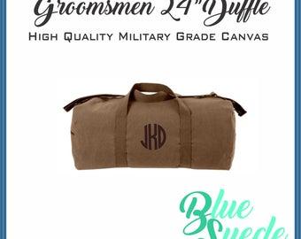 Canvas Duffle Bag - Groomsmen Gift | Groomsmen Bag | Military Style | Canvas Travel Bag | Carry On Bag
