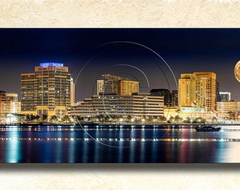 "Super Moon Rising over Norfolk Skyline 24"" x 6"" Panorama"