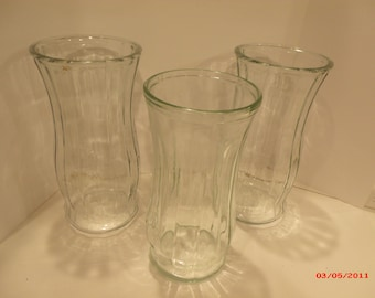 Three Clear Crystal Glass Vases