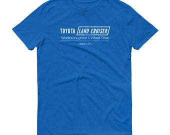 "Toyota Land Cruiser - ""World's toughest 4-Wheel Drive"" shirt - Classic Car Gift  for Men, Short sleeve t-shirt, Multiple colors available"