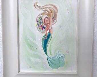 Peaceful Mermaid Gouache painting