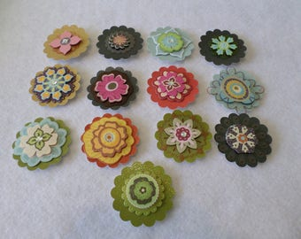 Set of 12 different 3-D floral themed cardstock embellishments, handmade, for card making, paper crafting, scrapbooking