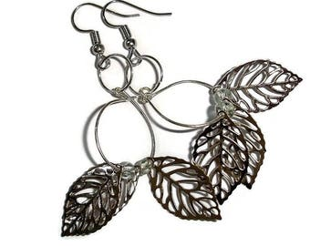 Leaves earrings Leaf earrings Silver leaves earrings silver earrings silver earrings 2 inch earrings leaf drop earrings light earrings flow