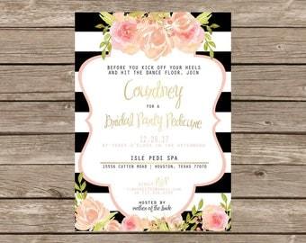 Modern Black Gold Floral Bridal Party Pedicure Invitation