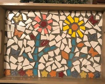 """Mosaic Wooden Tray   """"Flower Garden"""""""