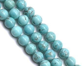 10 x 6mm (reconstituted) TURQUOISE round beads