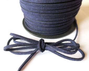 1 m x 3mm blue cord suede Navy