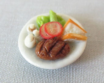 Miniature handcrafted flat full (steak/salad) plate 20mm round.