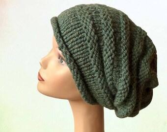 Oversized Beanie Hat / Womens Knit Hat / Slouchy Beanie Hat / Chunky Knit Hat / Women's Winter Hat / Beehive Beanie / Green Hat