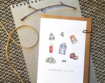 Adventures with You card, outdoors, camping, hiking