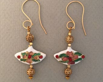 Cloisonné and Bronze Drop Earrings FREE SHIPPING