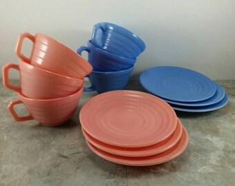 Vintage Hazel Atlas Moderntone Platonite Tea Set for 6 - Cups and Saucers Set - Pink and Blue