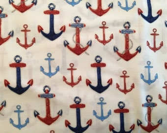 Nautical fabric by the yard - ship anchor fabric - down by the sea fabric by Robert Kaufman #17014