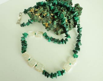Malachite Necklace, Green Malachite Gemstone Chips Necklace, Green Stone Beads Necklace