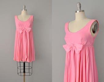 60s Dress // 1960's Bubblegum Crepe Pleated Mini Dress // S-XS