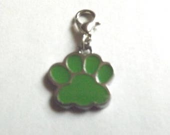 Green paw trace charms silver plated lobster clasp charm