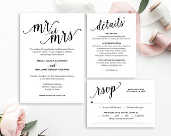 Mr and Mrs Wedding Invitation, Wedding Invitation Template, Wedding Invite Printable, Wedding Template, Invitation, Instant Download MM01-1