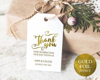 Thank You Tag Template, Wedding Favor Tag, Wedding Thank You Tag, Gift Tags, Gold, Thank You Printable, Wedding Printable, MM04-1