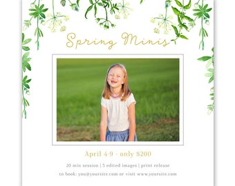 Spring Mini Session Template - mini session template - photography marketing template 5x5, spring mini template for photographers