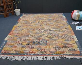 PATCHWORK Moroccan rug 7x10 Vintage Moroccan Middle Atlas Berber Flat weave Kilim Rug Kelim Berber Handmade Woven Atlas Wool Authentic Kilim