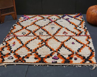 Vintage Azilal carpet 5x7 Vintage boho area rug AZILAL Vintage Moroccan Rug Wool rug Contemporary rug