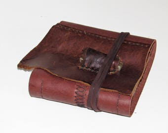 "Brown Leather Bound Book, Handmade Leather Journal, Travel Diary, Small Sketchbook, Notebook with Vintage Jackknife 5 1/2"" x 5 1/2"""