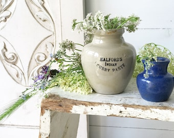A lovely advertising stoneware crock jar Halford's Indian curry paste