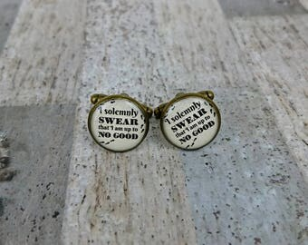 I Solemnly Swear That I Am Up To No Good Harry Potter Inspired Small Vintage Gold Picture Cufflinks