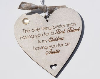 Best Friend Auntie Children Quote on Heart Gift Hanging Decoration Shabby Chic